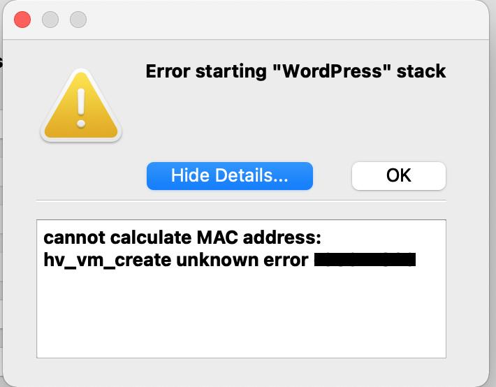 Cannot calculate MAC Address hv_vm_create unknown error