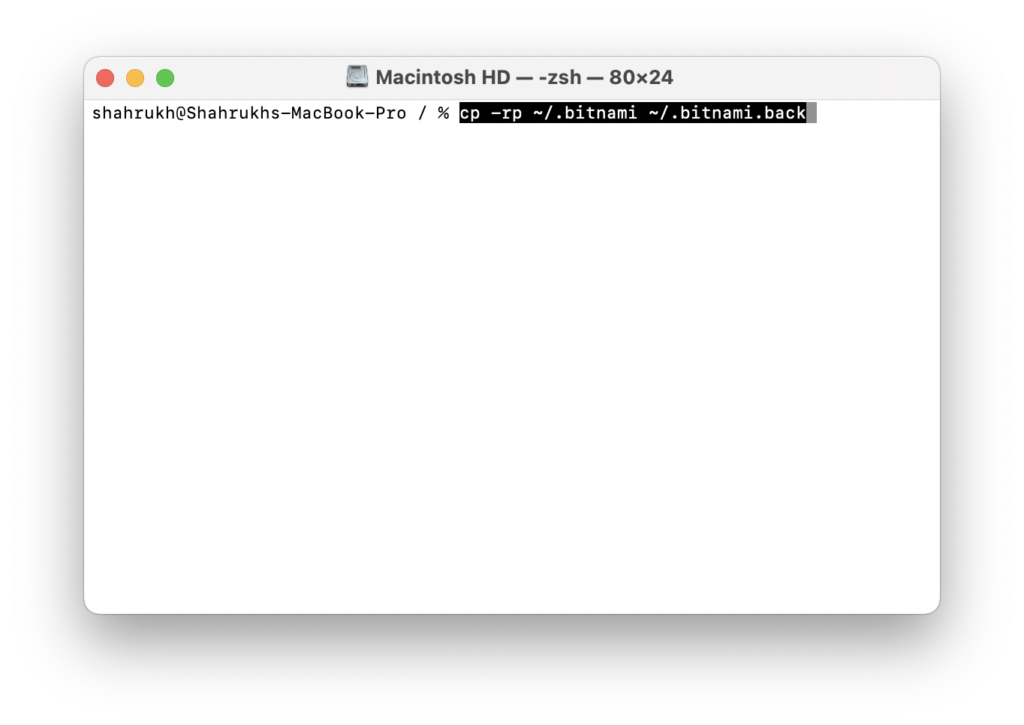 create a backup of applications command